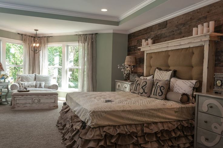 Traditional Master Bedroom with Pendant Light, Crown molding, Carpet, Expressive Mrs. Burlap Jute Throw Pillow, High ceiling