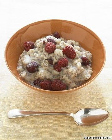 Barley has a lovely, chewy texture, and the grains hold their shape. In this recipe, quick-cooking barley is paired with almond milk, creating a rich-tasting but healthy breakfast.