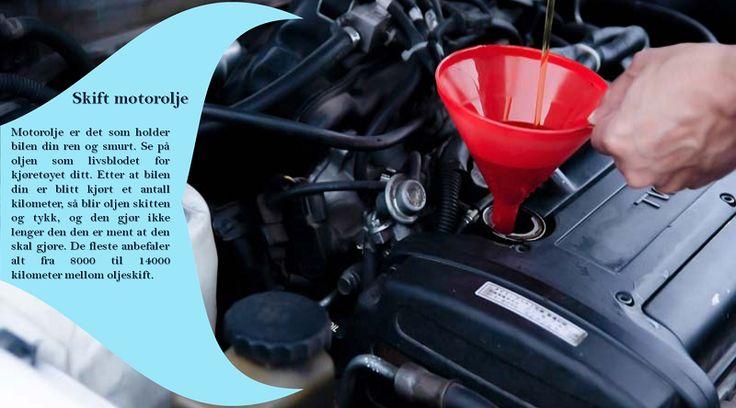 Bytt oljen din og filteret ditt Du bør bytte oljen regelmessig, i henhold til hva som er nevnt i brukermanualen din. Du bør få byttet oljen oftere hvis du kjører lengre turer med mye bagasje, eller hvis du trekker en campingvogn. #sommerdekkene