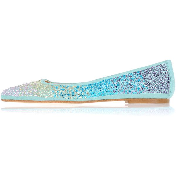 Anna Baiguera Leather Swarovki ANNEJADE Ballet Flat ($160) ❤ liked on Polyvore featuring shoes, flats, blue, slip on flats, ballet flats, blue ballet flats, blue leather flats and slip on shoes