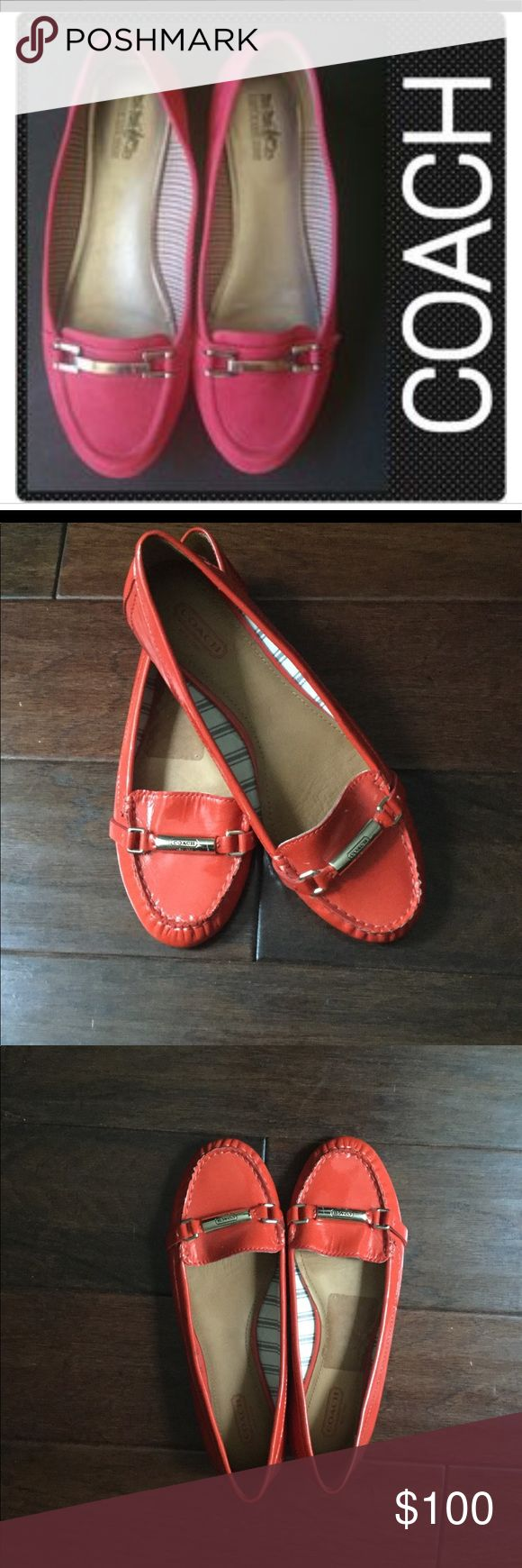 Orange Coach Flats Brand New never worn. Small ink stain see picture. One shoe is a size 8 the other is a size 8.5. Coach Shoes Flats & Loafers