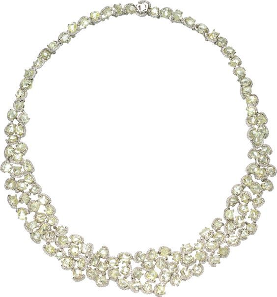 """""""Champagne Bubbles"""" 16inch wreath necklace, featuring 106.88 carats of rough cut diamonds, accented by 5.68 carats of micro pave' diamonds, set in platinum (price available on request):"""