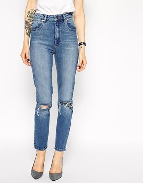 ASOS Farleigh High Waist Slim Mom Jeans in Vintage Wash with Busted Knees