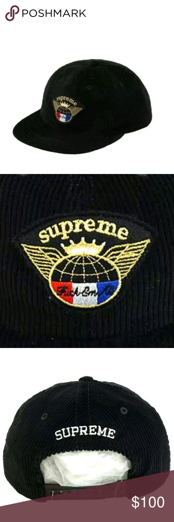 SUPREME GLOBAL CORDUROY 6-PANEL HAT BLACK Excellent gift for a loved one or yourself.  Sold out at the Supreme store and online.  Fall Winter 2017 collection 100% Authentic Supreme Accessories Hats