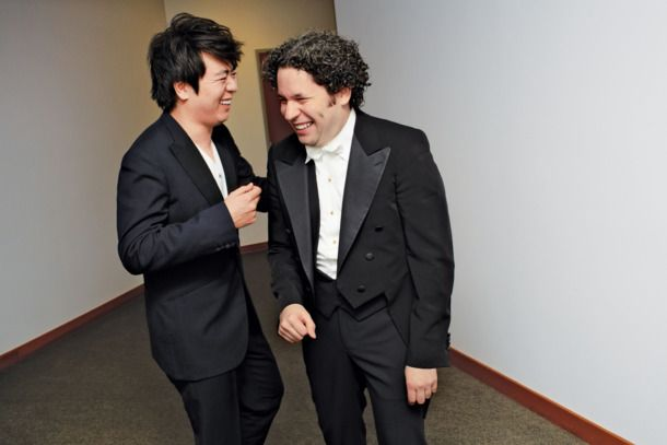 """Gustavo Dudamel's affection for Lang Lang is the best! """"8:55 p.m. [Piano soloist] Lang Lang is my good friend, and I love him. He's full of energy and he's a very sparkling man. I love to work with him because he listens to the orchestra."""" 