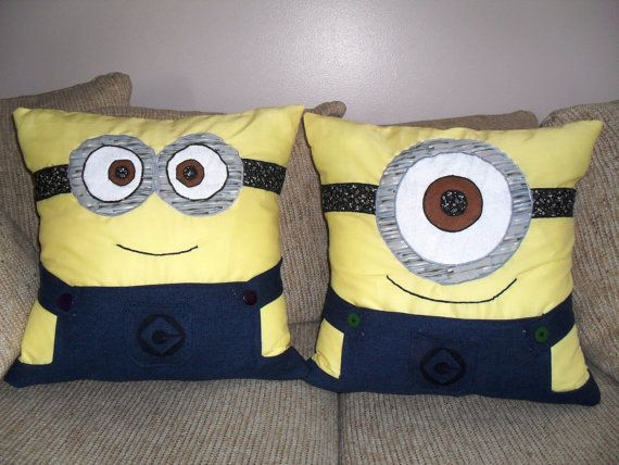 MINIONS!! I just can't get enough of these things! Wasting my life away collection the little figures from Mcdonalds, dragging my boyfriend to come see the movie with me when I know he doesn't want to see it, trying to win them at the carnival.. it's sad really. BUT these pillows are amazing!! This picture doesn't do them justice. They have DENIM OVERALLS!!