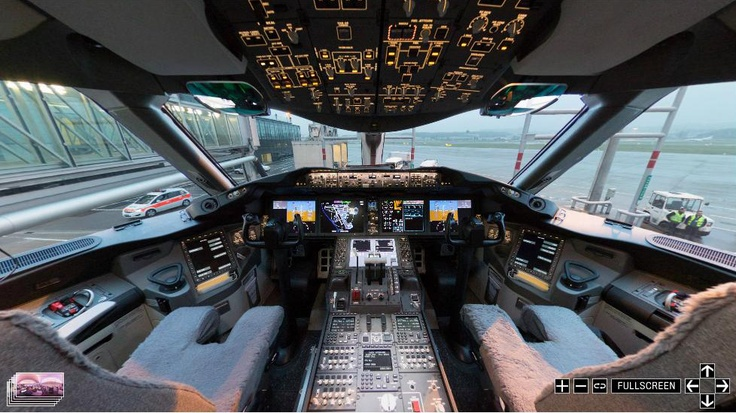 Panorama inside a qatar airlines boeing 787 dreamliner