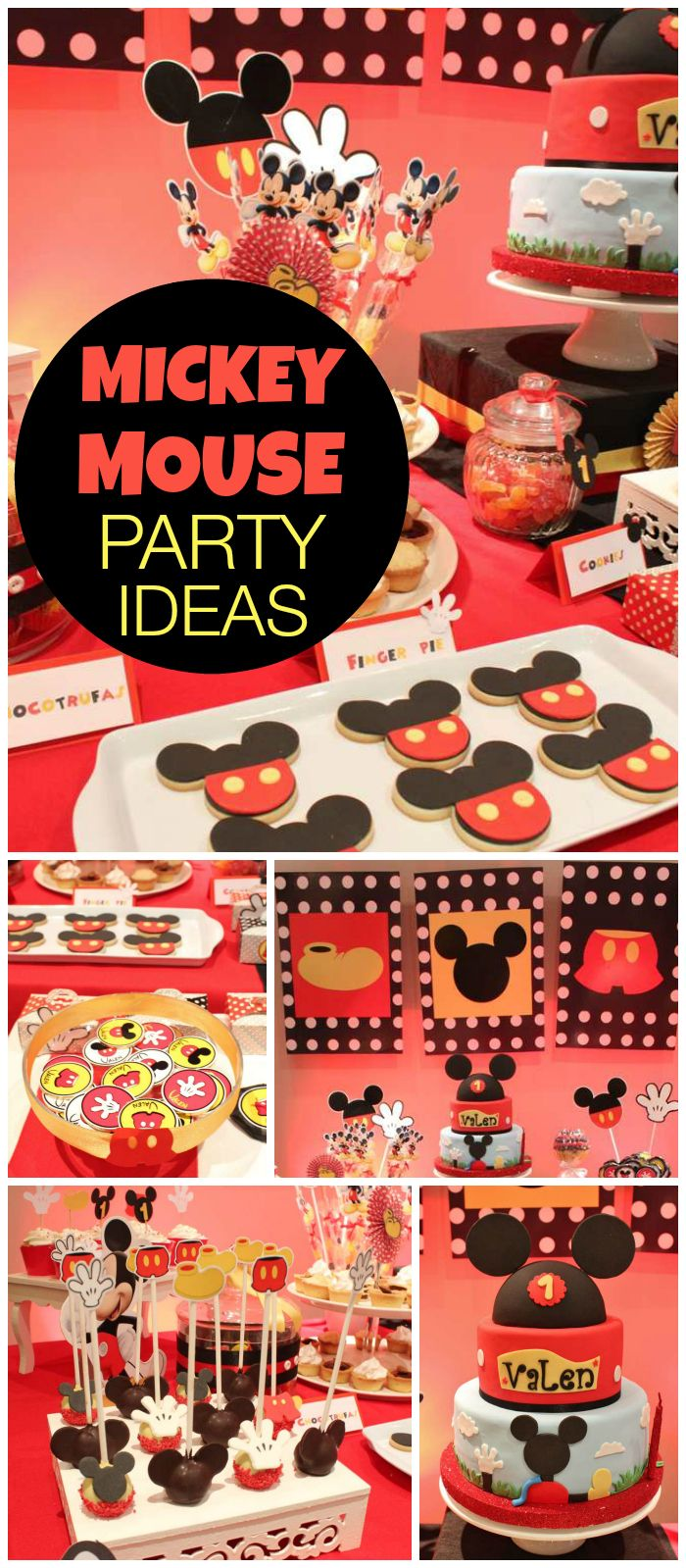 Check out this Mickey Mouse party! Cool cake and decorations! See more party ideas at CatchMyParty.com!
