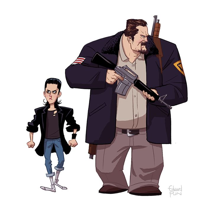 Eleven and Sheriff Hopper by Edward Pun