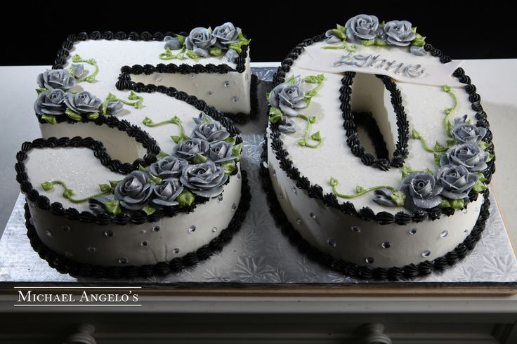 Grey Roses 50 86milestones Number Birthday Cakes 50th