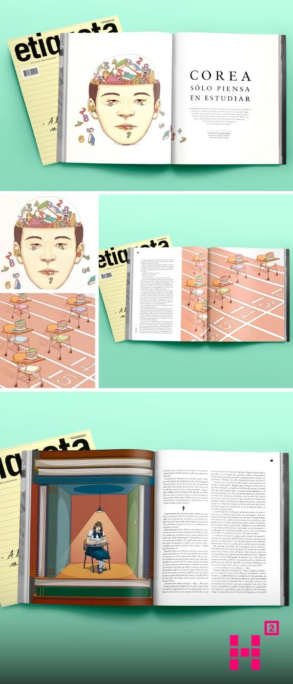 #Ilustración para la #crónica #Corea solo piensa estudiar, de la revista Etiqueta Negra.