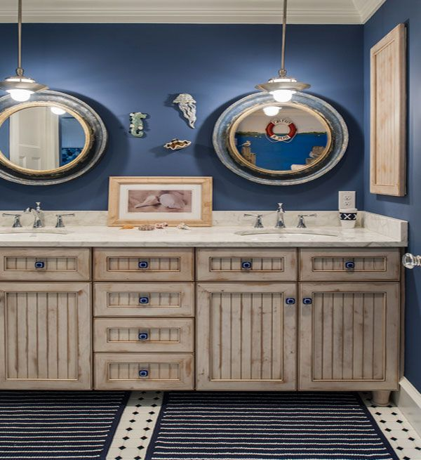 Rustic cabinets and a soothing shade of dusty blue are iconic features of the nautical theme, especially for the bathroom. Description from decoist.com. I searched for this on bing.com/images