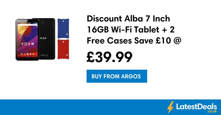 Discount Alba 7 Inch 16GB Wi-Fi Tablet + 2 Free Cases Save £10 @ Argos, £39.99 at Argos
