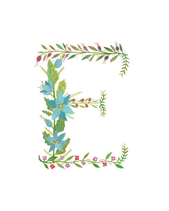 E Flower Monogram - other letters too printed on 8x10, lovely shop!