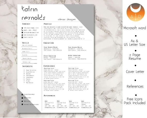 Professional Resume/ CV Template  Cover Letter  MS Word