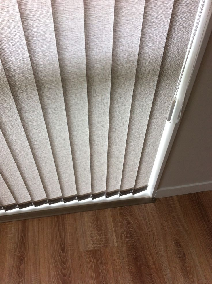 Light-filtering vertical blinds from Luxaflex in Baltic (fabric range) and supplied & professionally installed by blindsonline.net.nz