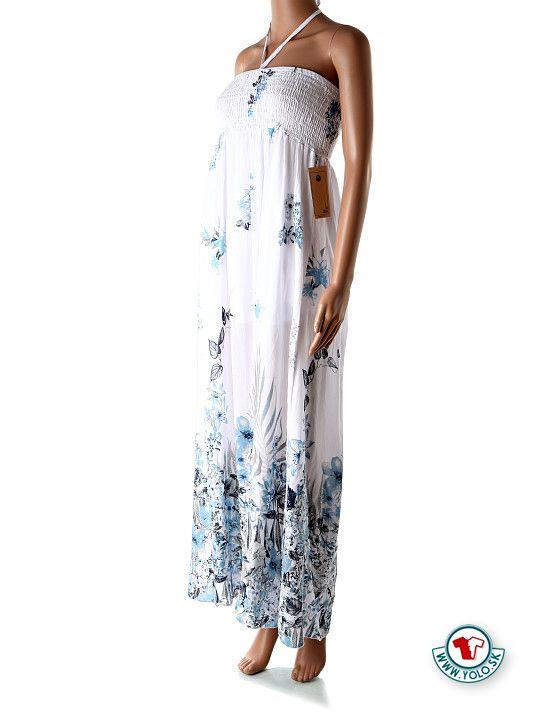 Dlhé biele maxi šaty Ja s modrými kvetmi  Dlhé jemné biele šaty s modrými kvetmi, žabkovaním na hrudníku a krátkou spodničkou proti presvitaniu bielizne. Šaty majú na hrudníku šnúrku, ktorá sa dá zaviazať do mašličky na ozdobu, alebo okolo krku.  http://www.yolo.sk/saty/dlhe-letne-maxi-saty-ja-s-modrymi-kvetmi