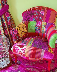 bright floral patchwork upholstery - Google Search