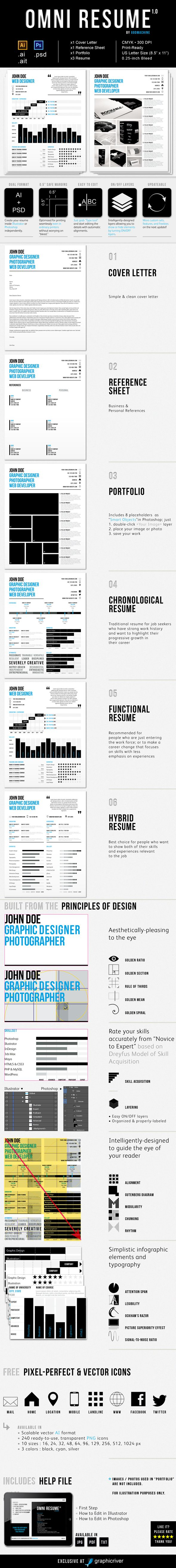 4-piece resume set with three (3) different resumes to choose from (chronological, functional, hybrid), plus, cover letter, reference sheet, and mini portfolio.