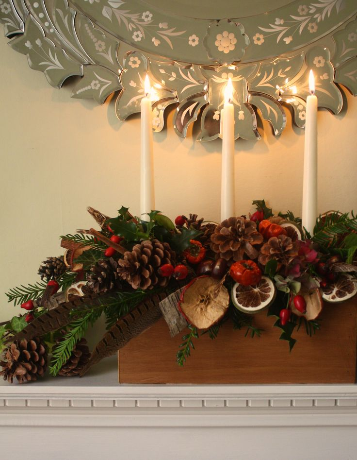 Christmas mantle piece arrangement.