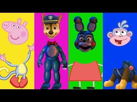 Wrong Heads - Dora The Explorer PAW Patrol FNAF Peppa Pig Family Song Nursery Rhymes Kids Hangout - YouTube
