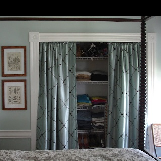 curtains to cover open closet studio design pinterest. Black Bedroom Furniture Sets. Home Design Ideas