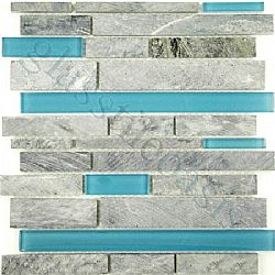 Grey Marble And Blue Glossy Glass Mix Random Bricks Blue Linea Tumbled Glass And Stone Tile
