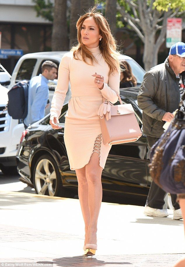 Shades of pastel: Jennifer Lopez was looking very chic and very pale pink as she headed to a Q&A for her show Shades Of Blue in LA on Thursday