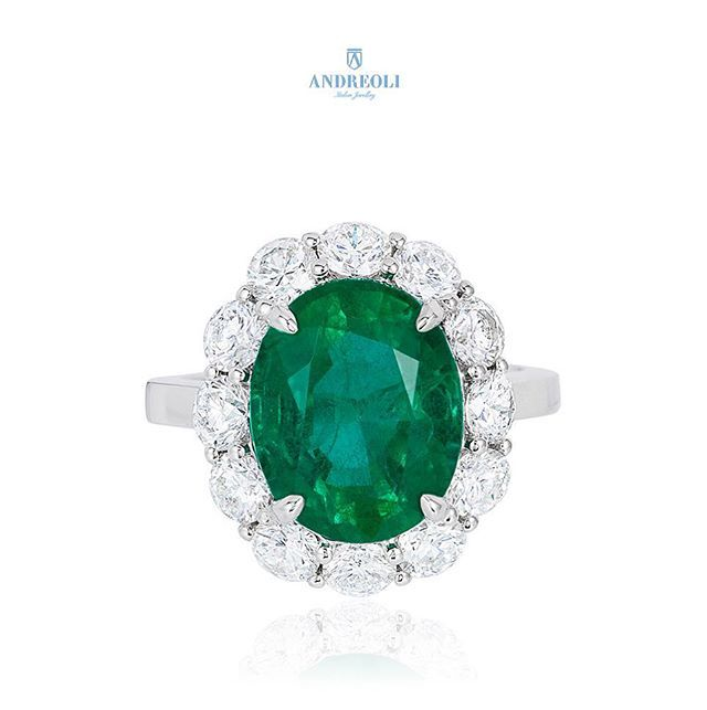 Andreoli A new favorite! Emerald and Diamond Ring in Platinum