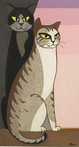 Tomoo Inagaki ~ Cats at Dawn