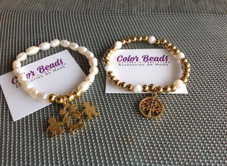 pulseras elasticadas en perlas del rio y pasantes villas