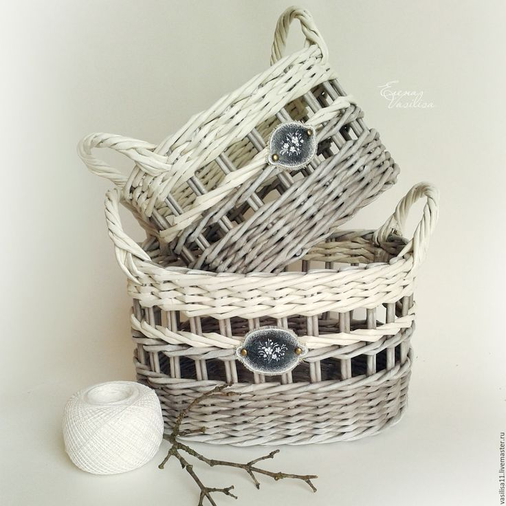 szellőske Купить Мартовские корзиночки плетеные (набор из 2 шт.) - белый, корзиночки плетеные, серый