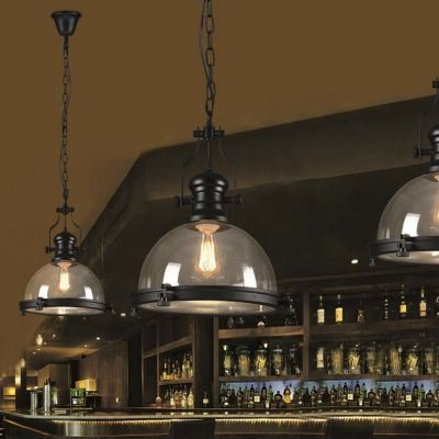 Nautical Style 1 Light Clear Glass Pendant Light in Black Finish