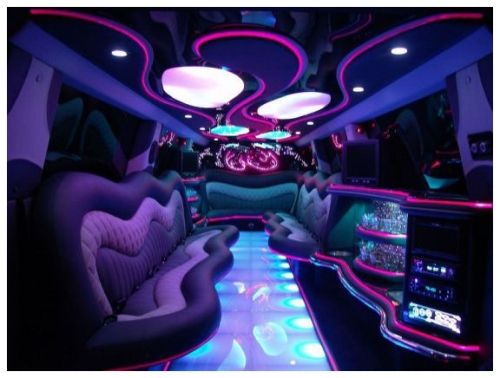 The interior of the limo I would love at our wedding
