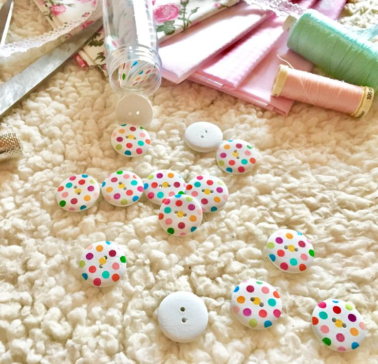 A personal favorite from my Etsy shop https://www.etsy.com/listing/494185056/10-polka-dots-colourful-buttons-wooden