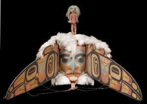 """Haida Gwai transformation mask, Pitt Rivers, Oxford. Split representation """"Decoration is actually created for the face; but in another sense the face is predestined to be decorated, since it is only by means of decoration that the face receives its social dignity and mystical significance. Decoration is conceived for the face, but the face itself exists only through decoration"""" Lévi-Struss"""