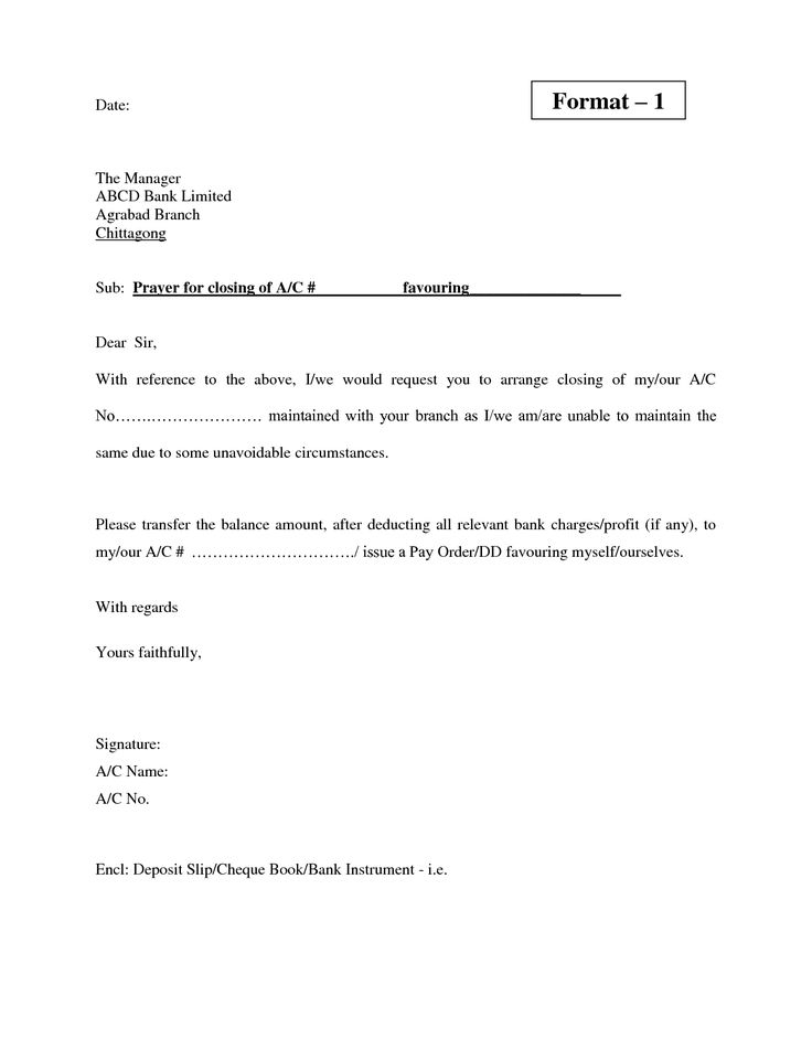 form letter to close bank account