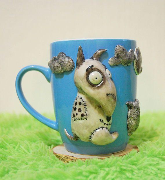 FrankenweenieTim Burton cup mug mug with decor handmade