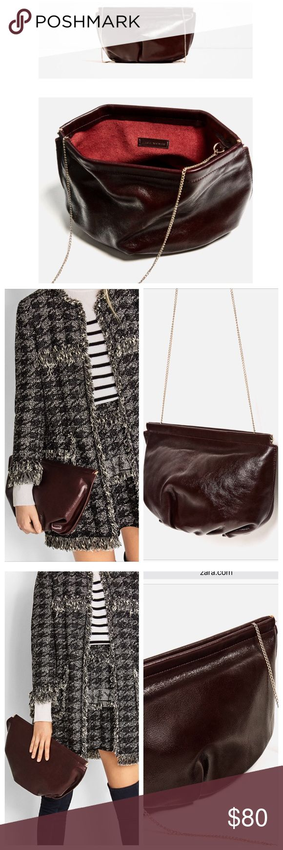 Zara Crackled  💯 Leather Crossbody Bag NWT Zara Crackled 100% Real Leather Crossbody Bag // Chain Strap // Gathered effect on the bottom // Color: burgundy // Dimensions: Height:23cm Width:38cm Depth: 13cm // New with tags // SOLD OUT ONLINE & IN STORES // 15% off on bundles. I ship same-day from pet/smoke-free home. Buy with confidence. I am an expert top seller with close to 400 5-star ratings and A LOT of love notes. Check them out. 😊😎 Zara Bags Crossbody Bags