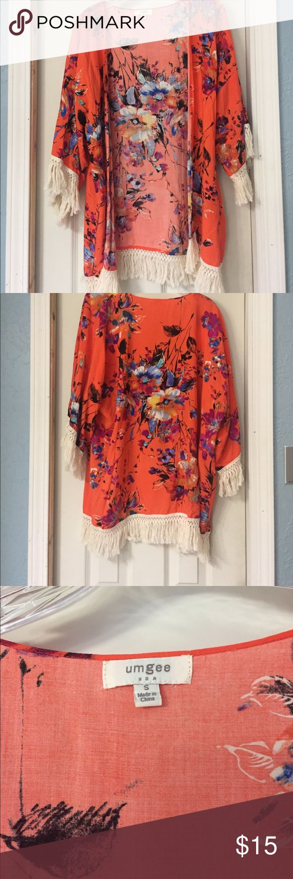 Floral Cardigan Neon colored floral cardigan with ivory fringe size small.  Great condition.  Never worn.  Smoke free home.  No trades.  Will consider offers. Umgee Sweaters Cardigans