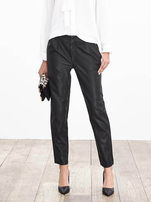 Pleated Faux-Leather Ankle Pant