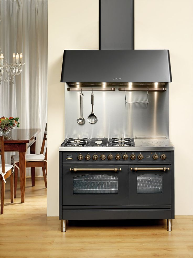 ILVE Nostalgie Double Oven in Matt Black with Brass