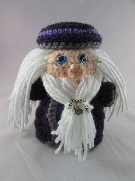 Dumbledore. Headmaster of Hogwarts. Handmade Crocheted Collectible. Harry Potter Amigurumi Character. -free shipping