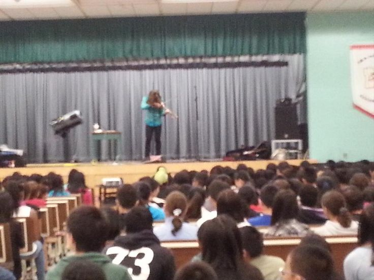 Mark Wood, inventor of the solid body electric violin & metal violin virtuoso @ at a school in Scarborough,ON