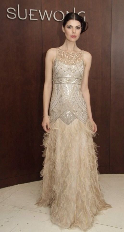 Sue Wong 14 Roaring 1920s Great Gatsby Art Deco Beaded Feather Dress Gown Bridal Suewong