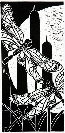Dragonfly Moon - hand-pulled relief print - Dona Reed