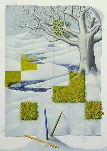 Painted Grid - Showing Spring coming through Winter -