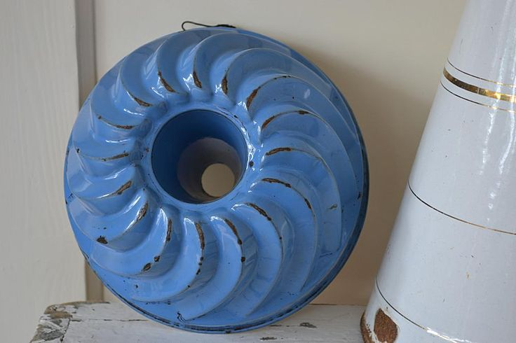 Frans blauw emaille tulband/bakvorm