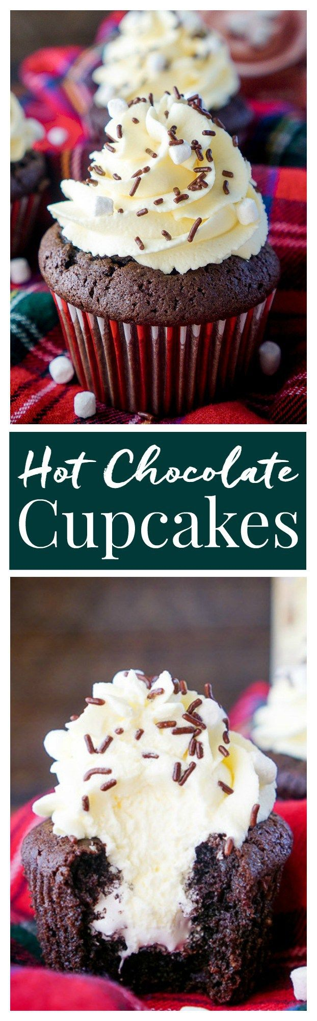 These Hot Chocolate Cupcakes are made with actual hot chocolate in the batter, filled with marshmallow fluff, and finished with a vanilla whipped cream frosting! They're everything you love about the classic drink in cupcake form, a perfect winter and holiday dessert! #ShareYourDelight @InDelight ad