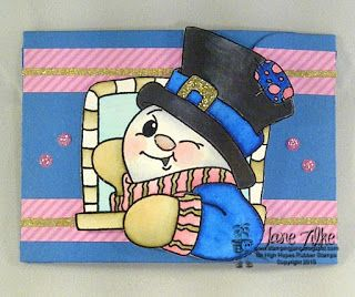 High Hopes Stamps: Winking Snowman - Gift Card Holder by Jane using  Winking Snowman (RR001), along with the sentiments called Warm Winter Wishes (G310) and To:/From (E068)